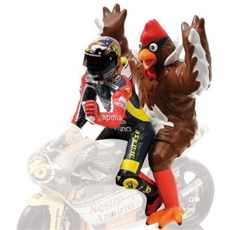 FIGURINE VALENTINO ROSSI +  CHICKEN GP 250 BARCELONA 1998 L. E.  2016 pcs.
